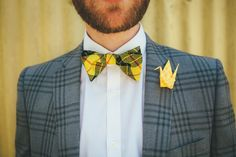 Tartan Bow Tie Groom Paper Crane Buttonhole Local DIY Yellow Barn Wedding http://www.brettsymesphotography.co.uk/
