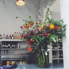 Large statement floral arrangement for a London wedding at St John restaurant in Clerkenwell by Palais Flowers St John Restaurant, Restaurant Wedding, Flower Shop Decor, Flower Decorations, Love Flowers, Wedding Flowers, Wedding Stuff, Wedding Ideas, Wildflower Centerpieces