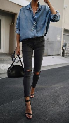 Chambray + black denim.