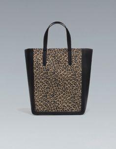 TWO-TONE LEOPARD SHOPPER - Handbags - Woman - ZARA