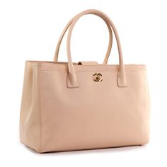 Chanel Beige Caviar Leather Cerf Tote