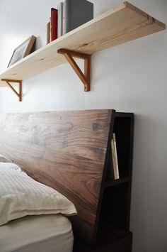 walnut masculine headboard with book storage