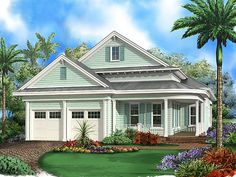 Narrow Lot Coastal House Plan This narrow lot coastal house plan features 2 bedrooms, 3 baths, 1 floor and a 2 car front entry garage. Other amenities inc