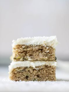 These zucchini bars with cream cheese icing are a fun twist on zucchini bread! Zucchini bars are super easy to make, have a little spice and a lot of flavor, topped with the creamiest cream cheese frosting. Delicious and simple! Zucchini Bars, Zucchini Bread, Cooking Zucchini, Cooking Kale, Fudge, Dessert Bars, Dessert Recipes, Delicious Desserts, Brownies