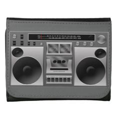 Retro hip-hop style cool ghetto blaster boom box radio graphic . Shades of silver gray and black with a single cassette tape player recorder and radio tuning. Big speakers look like you will pound some bass. #funny #radio #music #dance #teen #cool #retro #boom #box #music #dj #boombox #kids #children's #cute #vector