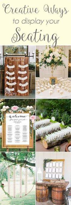 Creative ways to display your seating - seating charts and escort cards. Rustic, glam, wood, cork, mirror, flowers and candles. http://www.theweddingguru.ca/wedding-inspiration-seating-charts/ #seatingchart #escortcards