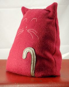 Recycled Fabric Cat door stop/doorstop, bookend, friend..etc - by UrbanTreehouse on madeit