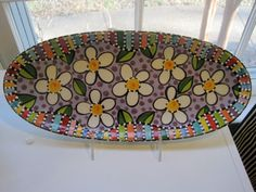 Daisy Dish W/ Stripe Edge by shannondesigns on Etsy
