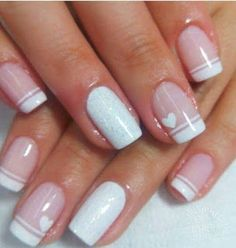 French Nails - French Nail Tip Ideas, French Nail Polish, French Tip Nail Designs Love Nails, Pretty Nails, Fun Nails, Style Nails, Glitter Nails, Glitter Makeup, White Nail Designs, Nail Art Designs, Nails Design