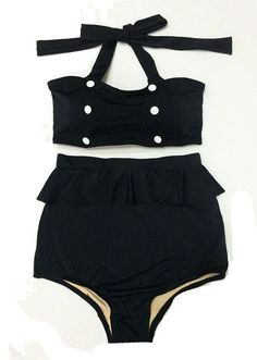 Black with Buttons Top Vintage Retro High   Waisted Shorts Bottom Handmade Swimsuit Swimwear Swimsuits Swim Bathing suit   suits Playsuit S M