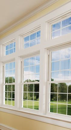 Double Hung Windows- A window with an upper and lower sash, Each sash is carried by cords and weights and slides up and down Sunroom Windows, Transom Windows, Living Room Windows, House Windows, Windows And Doors, Front Windows, Front Window Design, House Window Design, Window Grill Design