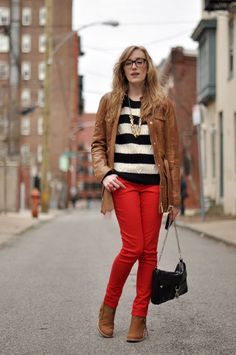 red jeans and stripes