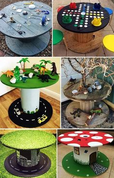 Projects For Kids, Diy For Kids, Crafts For Kids, Diy Projects, Cable Reel Ideas For Kids, Cable Reel Ideas Eyfs, Nursery Activities, Wooden Spools, Backyard For Kids