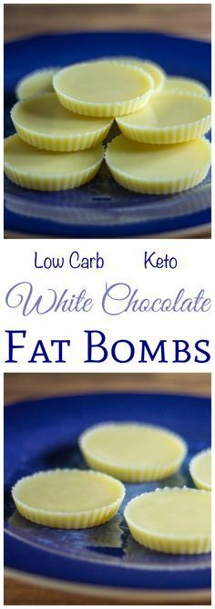Simple and sweet recipe for white chocolate that's free of sugar but full of taste! This chcolate is suitable for those on low carb and keto diets. Need a little more fat on your low carb high fat keto diet? Try this white chocolate fat bomb recipe. Keto Fat, Low Carb Keto, Low Carb Recipes, High Fat Keto Foods, Snacks For Keto Diet, Easy Keto Recipes, Keto Sweet Snacks, Quick Keto Meals, Atkins Recipes