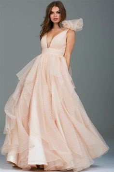 86a437aa0f Buy the 55210 Ruffled Plunging V-neck Ballgown by Jovani at  CoutureCandy.com