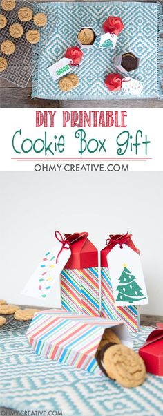 Need a last minute gift for neighbors or friends? These Christmas folded treat boxes are perfect for filling with your favorite cookies. The printable file is ready for you to make this DIY cookie box gift today! Christmas Gifts To Make, Simple Christmas, Holiday Crafts, Christmas Diy, Christmas Foods, Christmas Things, Christmas Recipes, Holiday Ideas, Diy Gift Box