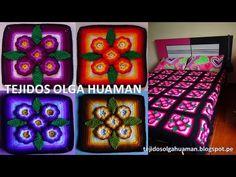 "tejidos a crochet paso a paso: muestra ""5 flores"" para colchas video 1 - YouTube"