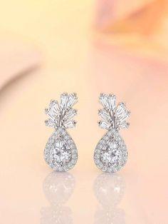 Earrings Studs Carat Pear and Baguette Stud Earrings White Gold Black Diamond Studs, Gold Diamond Earrings, Round Earrings, Diamond Jewelry, Diamond Bands, Gold Jewelry, Gold Necklace, Bridal Jewelry, Baguette Diamond