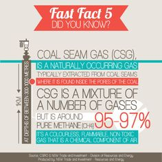 Coal Seam Gas is around 95-97% pure methane – a naturally occuring, non-toxic, flammable gas. Find out more on the NSW Coal Seam Gas website www.csg.nsw.gov.au