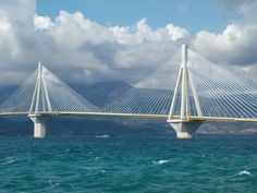 Achaia Greece via Beautiful Buildings, Beautiful Places, Cable Stayed Bridge, High Bridge, Visit Greece, Mountain Range, Greece Travel, Crosses, Athens