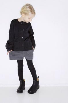 Mini fashion grey shorts black top kid girl fashion