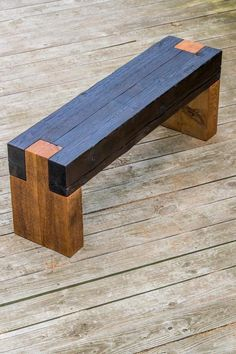 Modern rustic shou sugi ban timber bench for indoors Original and completely handmade by myself at RealSimpleWood Made from salvaged cedar timbers Seat top has shou sugi ban (charred wood) finish for unique texture 47 long, 18 tall and 12 wide Notched int