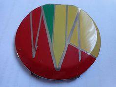 Vintage art deco enamel compact signed rowenta