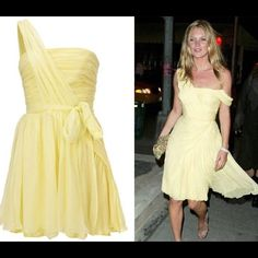 Yellow draped Kate Spade for Topshop dress Yellow Kate Spade for Topshop dress. Delicate draping make this dress a standout. Size is an 8. Topshop Dresses One Shoulder