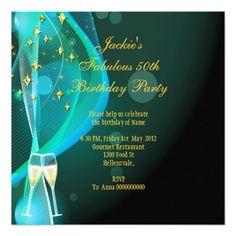50 & Fantastic Fabulous Gold Teal Glitter Shoes Card