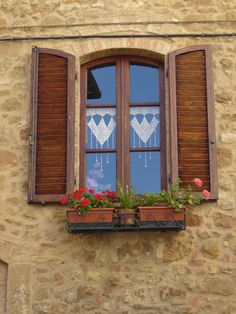 Window in Pienza,province of Siena , Tuscany region Italy