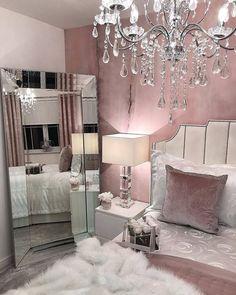 30 Pretty Pink Bedroom Design Ideas That Inspire You Pink Bedroom Design, Pink Bedroom Decor, Glam Bedroom, Bedroom Ideas, Pink And Silver Bedroom, Master Bedroom, Bedroom Designs, Light Pink Bedrooms, Nice Bedrooms