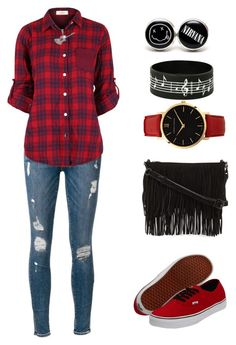 """Smells Like Teen Spirit"" by kellycassie ❤ liked on Polyvore featuring Frame Denim, Vans, Larsson & Jennings, Carolina Glamour Collection, Rebecca Minkoff, black, red, nirvana and DressMeLikeADream"