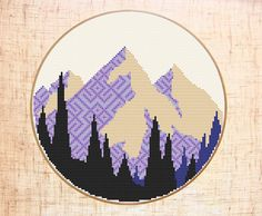 Mountain cross stitch pattern Modern cross stitch Nature Wild