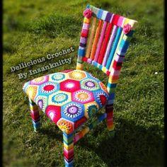 Gorgeous Rainbow Yarn Crochet Chair - by DelliciousCrochet on madeit $600