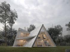 from This Sculptural Concrete Villa Is a Stunning Ode to Deconstructivism architizer Vernacular Architecture, Modern Architecture, Villa, Pyramid House, Deconstructivism, Forest Illustration, A Frame House, Forest House, Concrete