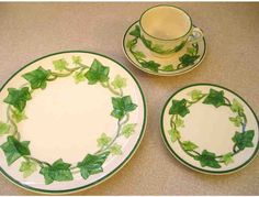 Franciscan Ivy (American) dishes are very pretty. Service is for five but there are extra pieces to this set. There are two extra saucers, three extra bread and butter dishes, and one extra plate.         Local area please.