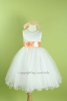 Flower Girl Dress  WHITE Wavy Bottom Dress with PEACH by LuuniKids