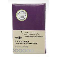 Wilko Housewife Pillowcases Purple x 2