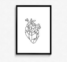 Minimalist Poster, Geometric Art, Anatomic heart, Black and Whit, HomeWall…