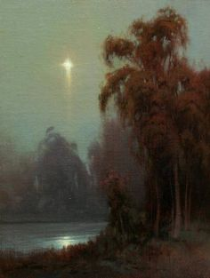 Elementi Pittorici - facebook Moon River by Kevin Courter, 9 x 12, Original Oil Painting
