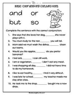 Coordinating Conjunctions Basic Worksheet