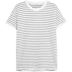 Rag & boneDistressed Striped Cotton-blend T-shirt (1,985 MXN) ❤ liked on Polyvore featuring tops, t-shirts, white, stripe t shirt, distressed white t shirt, ripped tee, distressed white tee and stripe tee