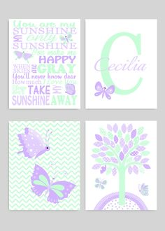 Mint and Purple Baby Girl Butterfly Nursery Wall Decor