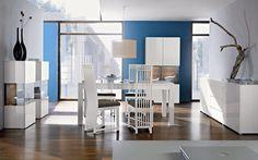 Salle à manger complète design VALENCIA, coloris Blanc laqué