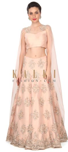 Buy this Pink lehenga enhanced in attached cape dupatta only on Kalki