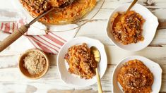 So long, basic sides.  Save the recipe for Copycat Ruth's Chris Sweet Potato Casserole 👍 Sweet Potato Souffle, Sweet Potato Pecan, Mashed Sweet Potatoes, Sweet Potato Casserole, Ruth Chris, Souffle Recipes, Baked Mac, Vegetarian Cooking, Cooking Light