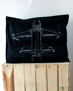 A post apocalyptic Pantograf Dragonfly pillow case by KropkaDesign