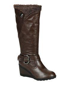 Love this Brown Addie Button Wedge Boot by Reneeze on #zulily! #zulilyfinds