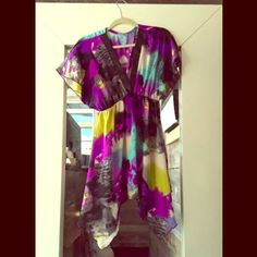 Sheer dress Colorful sheer dress. deep v neck. Can be worn as a top or dress. Dresses High Low