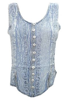 """Peasant Tops Blouse Grey Embroidered Stonewashed Rayon Tank Top (Chest:40"""") Mogul Interior http://www.amazon.com/dp/B017D8N7K6/ref=cm_sw_r_pi_dp_Hl4swb1NVYEEB"""